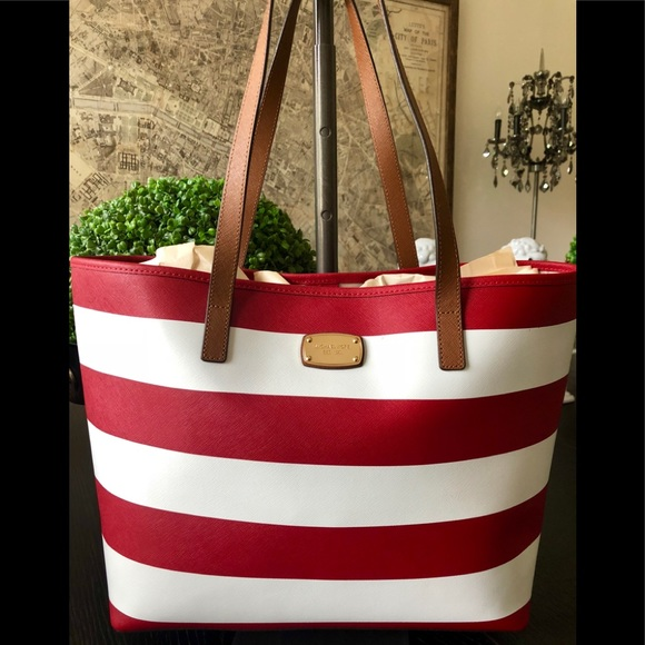 790525e24408 MICHAEL Michael Kors Bags | Michael Kors Red White Stripe Tote ...